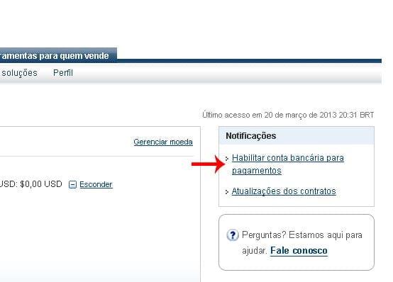 Paypal adicionar conta bancaria