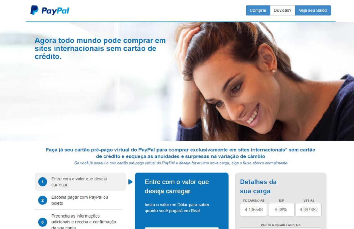 cartão pré-pago virtual do paypal