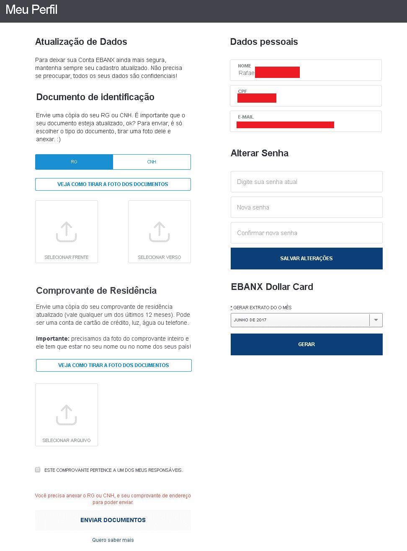 Atualizar cadastro no Ebanx - Enviando Documentos
