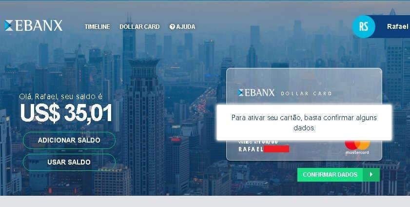 Ebnax Dollar Card Confirmar Dados