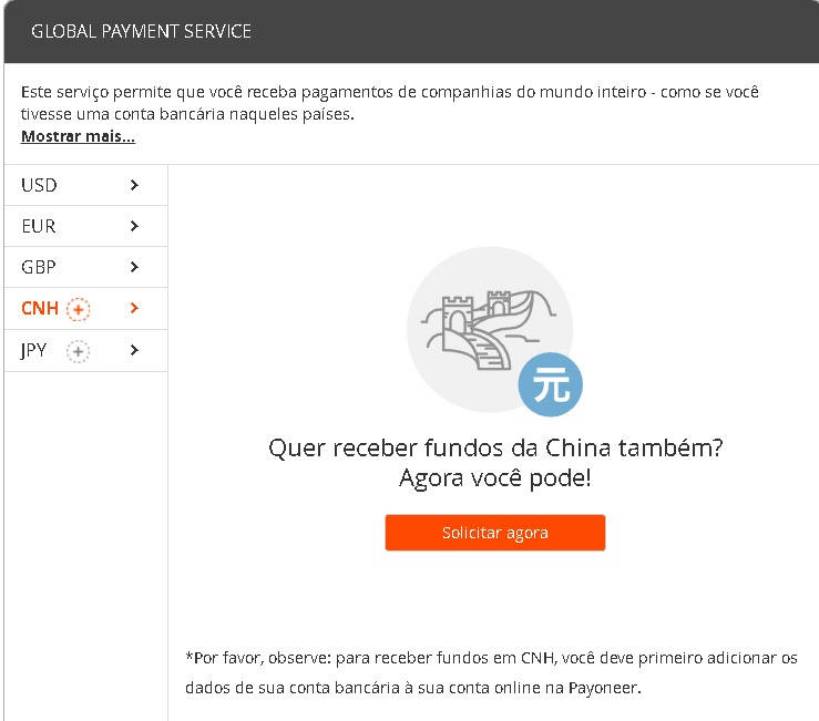 Payoneer Receber Pagamentos USD EUR GBP CNH JPY