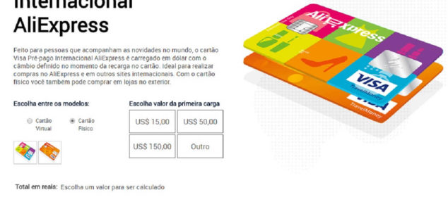 adquirir o Cartão Visa Pré-pago Internacional AliExpress