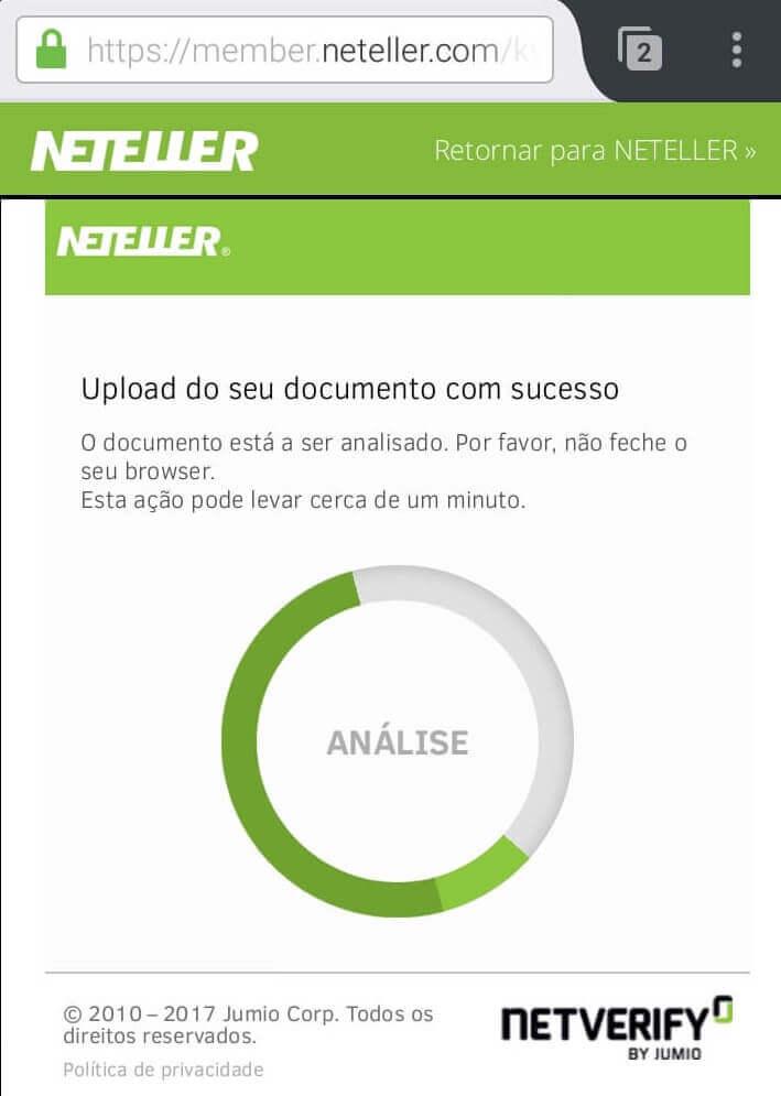 Verificação da conta NETELLER 10