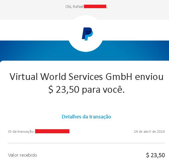 VirWox Comprovante Pagamento para Paypal